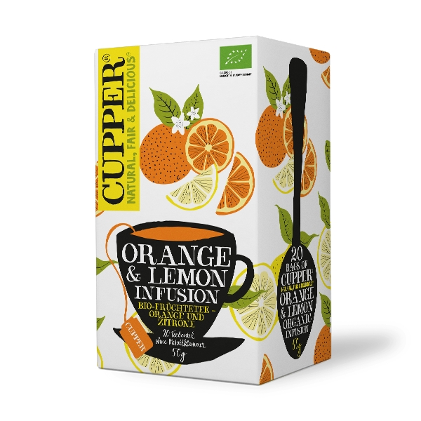 Cupper ORANGE & LEMON Bylinný čaj BIO 20 x 2,5 g